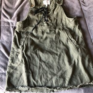 Olive overall dress